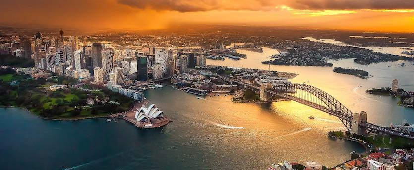 beautiful aerial view of sydney harbour and surrounds