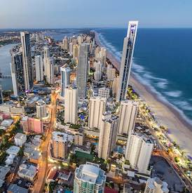 aerial view of gold coast city and stunning white beaches