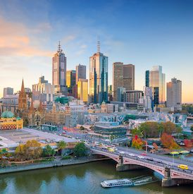 city view of melbourne with beautiful blue skies